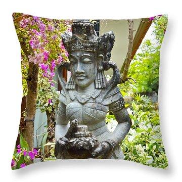 Bali Lady Throw Pillow by Jocelyn Kahawai