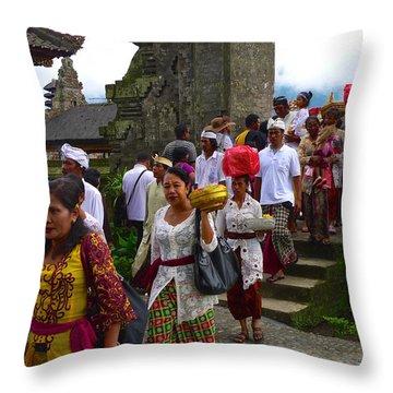 Balinese Leaving Beratan Temple Bali Throw Pillow