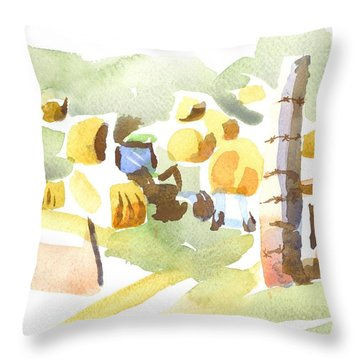 Baling Hay In The Abstract Throw Pillow by Kip DeVore