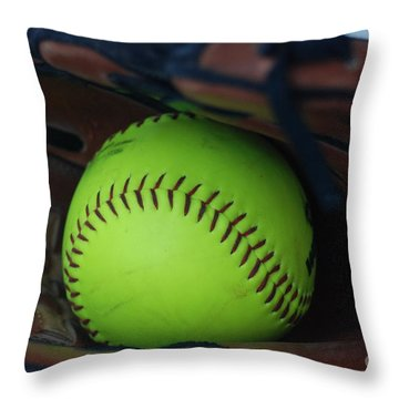 Ball And Glove Throw Pillow
