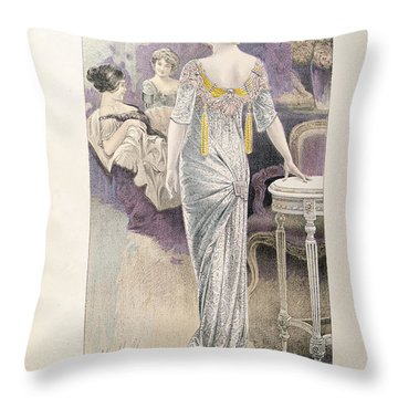 Ball Gown Throw Pillow by French School