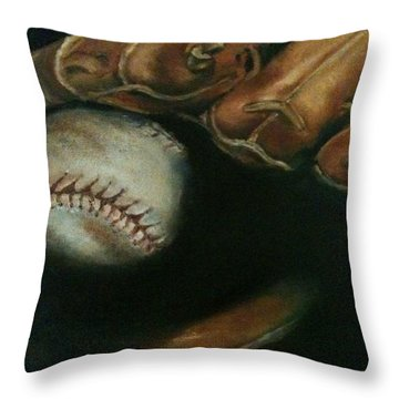 Ball In Glove Throw Pillow by Lindsay Frost
