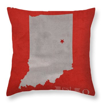 Ball State University Cardinals Muncie Indiana College Town State Map Poster Series No 017 Throw Pillow by Design Turnpike