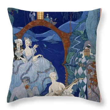 Ball Under The Blue Moon Throw Pillow by Georges Barbier