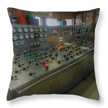 Throw Pillow featuring the photograph Ballast Control Panel Of The Ocean Valiant Semi Submersible Drilling Rig by Gregory Daley  PPSA