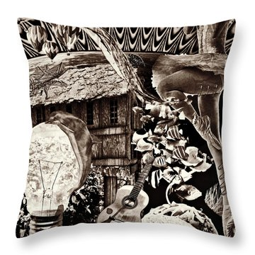 Throw Pillow featuring the mixed media Ballerina Dreams by Ally  White