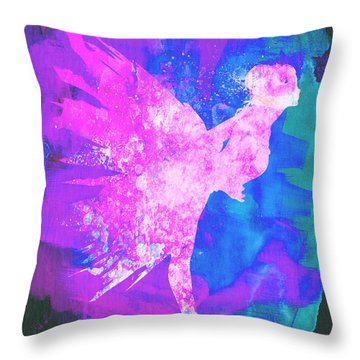 Ballerina On Stage Watercolor 1 Throw Pillow by Naxart Studio