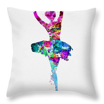 Ballerina Watercolor 1 Throw Pillow