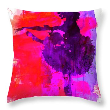 Ballerina Watercolor 3 Throw Pillow by Naxart Studio