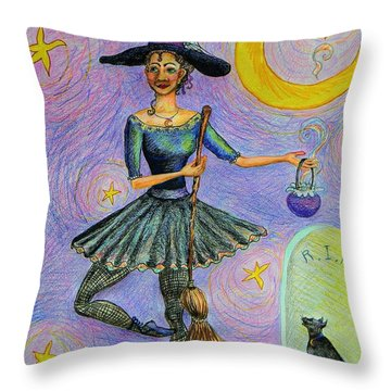 Ballerina Witch Throw Pillow by Emily Michaud