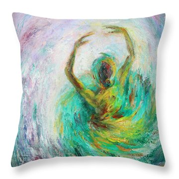 Throw Pillow featuring the painting Ballerina by Xueling Zou