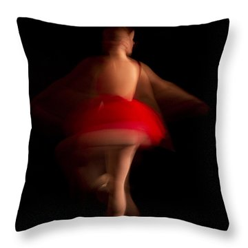 Ballet Dancer In Red Tutu Throw Pillow