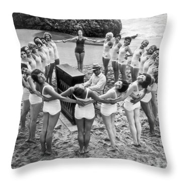 Ballet Rehearsal On The Beach Throw Pillow by Underwood Archives