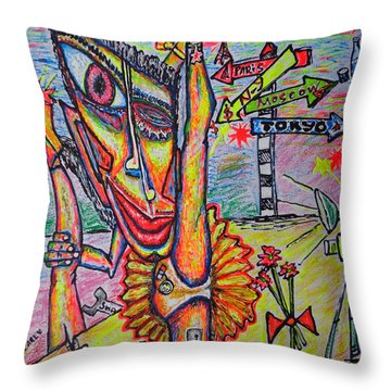 Throw Pillow featuring the painting Ballet/sketch/ by Viktor Lazarev