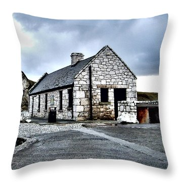 Ballintoy Stone House Throw Pillow by Nina Ficur Feenan