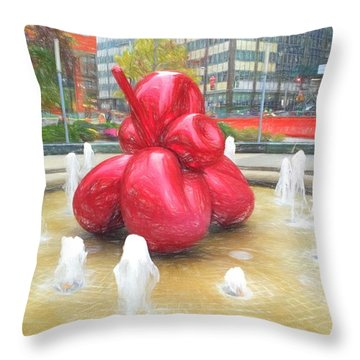 Balloon Flower In The Water Throw Pillow