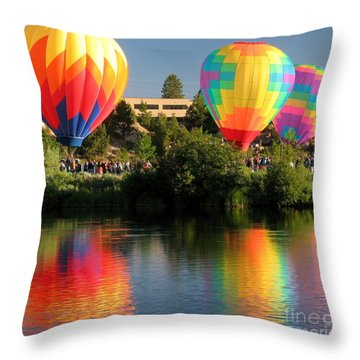 Throw Pillow featuring the photograph Balloons Over Bend Oregon by Kevin Desrosiers