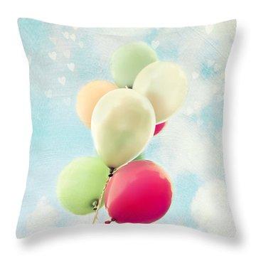 Balloons Throw Pillow by Sylvia Cook