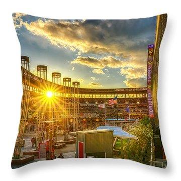 Ballpark Sunset At Target Field Throw Pillow by Mark Goodman