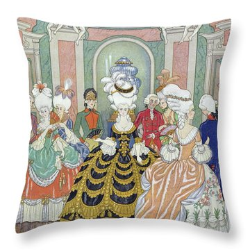 Ballroom Scene Throw Pillow by Georges Barbier