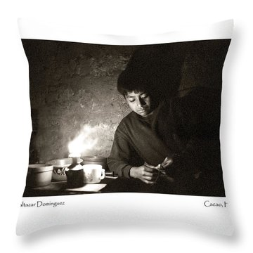 Throw Pillow featuring the photograph Baltazar Reading by Tina Manley