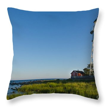 Baltic Sea Lighthouse Throw Pillow