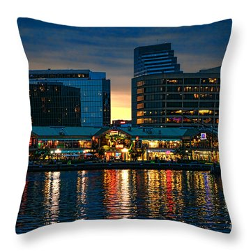 Baltimore Harborplace Light Street Pavilion Throw Pillow by Olivier Le Queinec