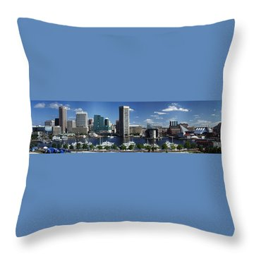 Baltimore Inner Harbor Panorama Throw Pillow