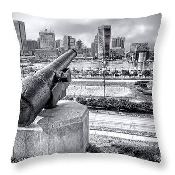 Throw Pillow featuring the photograph Baltimore Inner Harbor Skyline by Olivier Le Queinec