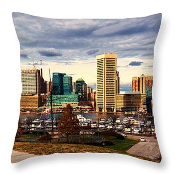 Baltimore Inner Harbor Skyline Panorama Throw Pillow