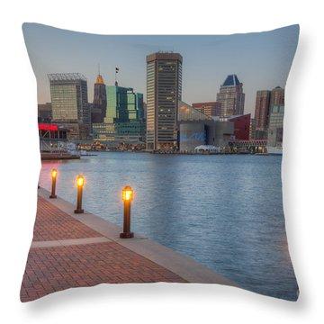 Baltimore Skyline At Twilight I Throw Pillow