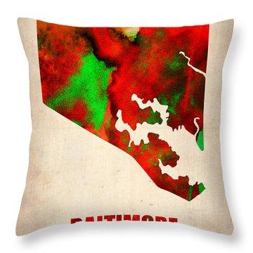 Baltimore Watercolor Map Throw Pillow