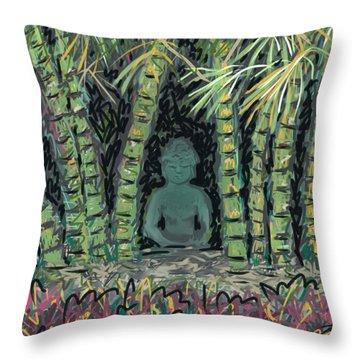 Bamboo Buddha Throw Pillow