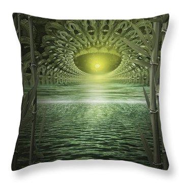 Throw Pillow featuring the digital art Bamboo Fractal by Melissa Messick