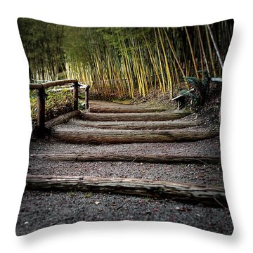 Bamboo Garden Throw Pillow