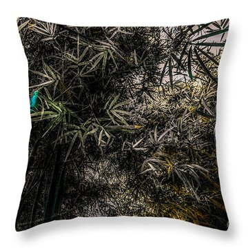 bamboo III - blue - yellow Throw Pillow by Hannes Cmarits