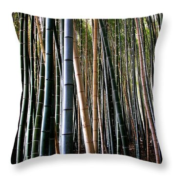 Throw Pillow featuring the photograph Bamboo In Sagano Japan by Jacqueline M Lewis
