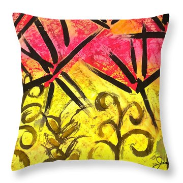 Bamboo In The Wind Throw Pillow by Joan Reese