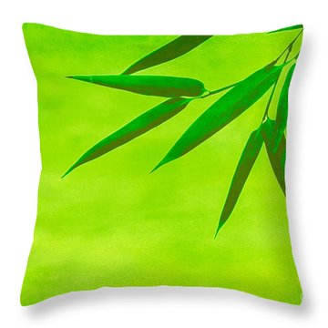 Bamboo Leaves Throw Pillow by Hannes Cmarits