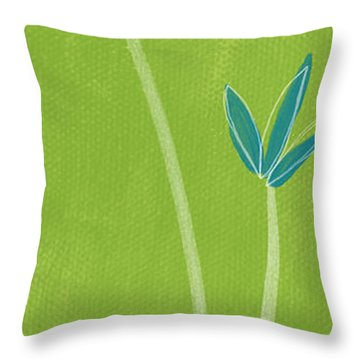Bamboo Namaste Throw Pillow by Linda Woods