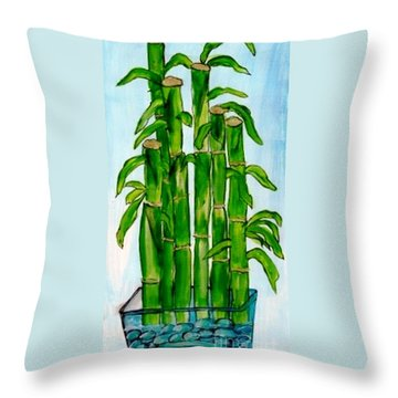 Bamboo On The Rocks Throw Pillow