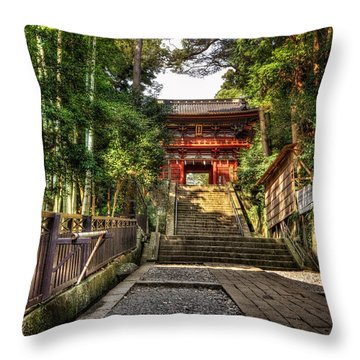 Bamboo Temple Throw Pillow by John Swartz