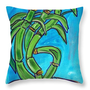 Throw Pillow featuring the painting Bamboo Twist by Ecinja Art Works