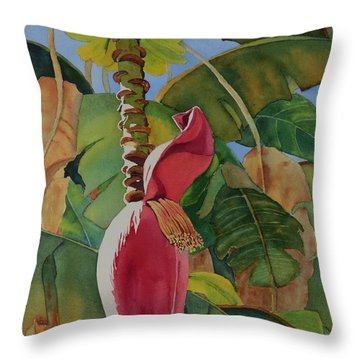 Throw Pillow featuring the painting Banana Beginnings by Judy Mercer