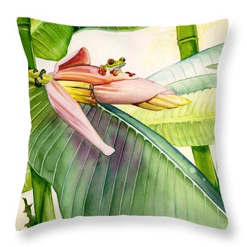 Banana Bloom Throw Pillow