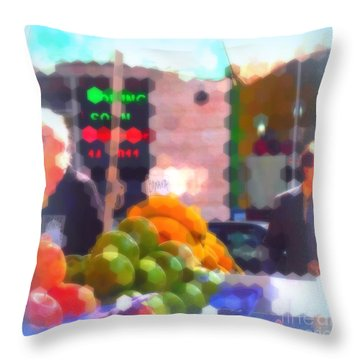 Throw Pillow featuring the photograph Banana - Street Vendors Of New York City by Miriam Danar
