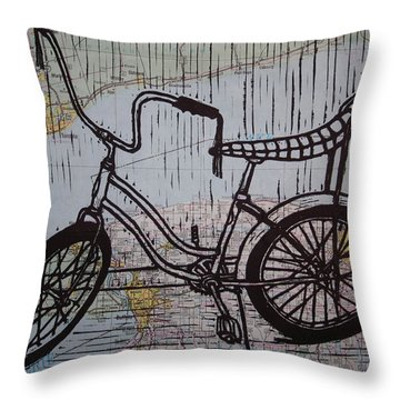 Throw Pillow featuring the drawing Banana Seat On Map by William Cauthern