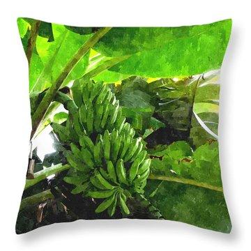 Banana Trees Throw Pillow by Lanjee Chee