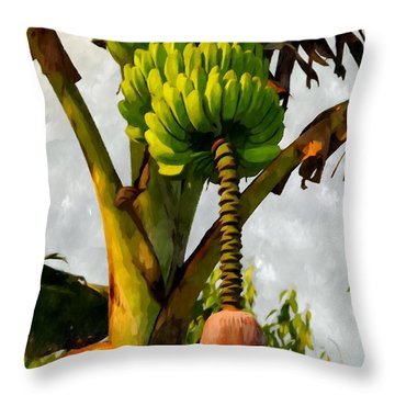 Banana Trees With Fruits And Flower In Lush Tropical Garden Throw Pillow by Lanjee Chee