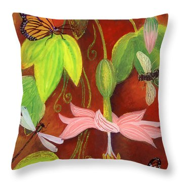 Throw Pillow featuring the painting Bananapoka by Anna Skaradzinska